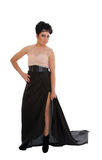 Fashionable woman in elegant black dress Royalty Free Stock Images