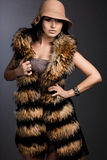 Fashionable woman in fur Royalty Free Stock Photography