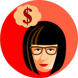 Fashionable woman with glasses is dreaming about the money. Flat Royalty Free Stock Photos