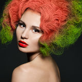 Fashionable woman with green hair Royalty Free Stock Image