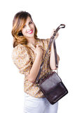 Fashionable woman with hand bag Royalty Free Stock Images
