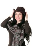 Fashionable woman with hat Stock Photography