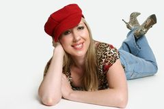 Fashionable woman with hat Stock Images