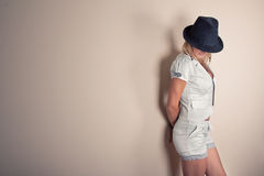 Fashionable woman with hat Stock Photo