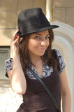 Fashionable woman with hat Stock Photos