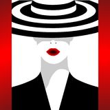 The fashionable woman in a hat. The fashionable woman in a striped hat. A vector illustration for execution of the fashionable magazines, posters and other Royalty Free Stock Image