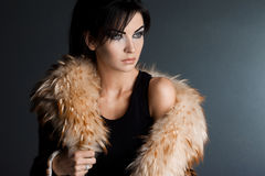 Fashionable Woman In Fur Coat Royalty Free Stock Photography
