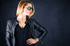 Fashionable woman in a jacket Royalty Free Stock Photography