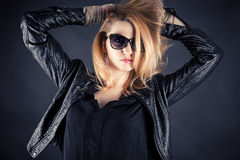 Fashionable woman in a jacket Stock Photography