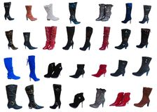 Fashionable woman knee-boots, collage Royalty Free Stock Image