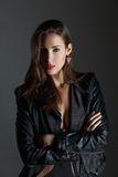 Fashionable woman in leather jacket Stock Image
