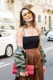 Fashionable woman at Milan Men`s Fashion Week Royalty Free Stock Photography