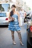 Fashionable woman at Milan Men`s Fashion Week Stock Images