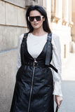 Fashionable woman at Milan Men`s Fashion Week Stock Photo