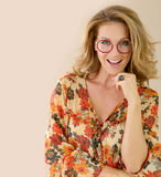 Fashionable woman model smiling wearing eyeglasses Stock Photo