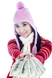 Fashionable woman with money Royalty Free Stock Image