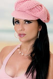 Fashionable woman in pink cap Royalty Free Stock Images