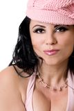 Fashionable woman in pink cap Royalty Free Stock Photos