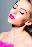Fashionable woman with pink fur Stock Images