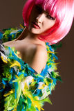 Fashionable woman with pink wig  portrait Royalty Free Stock Images