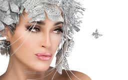 Fashionable woman portrait with Silver Stylism. Vogue style mode Royalty Free Stock Photography