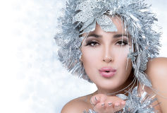 Fashionable woman portrait with Silver Stylism. Vogue style mode Royalty Free Stock Images