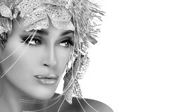 Fashionable woman portrait with Silver Stylism. Vogue style mode Stock Photos