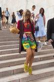 Fashionable woman posing during Milan Fashion Week Stock Photography