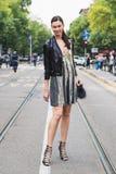 Fashionable woman posing during Milan Fashion Week Royalty Free Stock Image