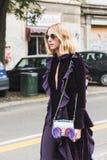 Fashionable woman posing during Milan Fashion Week Stock Image