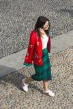 Fashionable woman posing during Milan Fashion Week Stock Images
