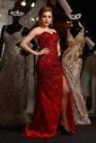 Fashionable woman posing in red gown Royalty Free Stock Image