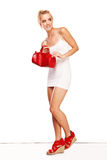 Fashionable woman in red accessories Royalty Free Stock Photos