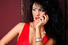 Fashionable woman in red dress Stock Photo