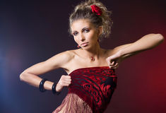 Fashionable woman with red rose Royalty Free Stock Photos