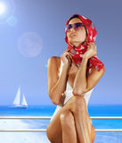 Fashionable woman in red scarf Royalty Free Stock Photo