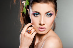 Fashionable woman with ring Royalty Free Stock Photo
