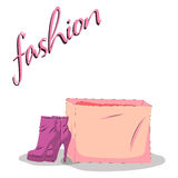Fashionable woman s shoes and bag pink color and fashion handwritten sign. Fashionable woman s shoes and bag pink color and fashion handwritten sing. Vector Stock Photo