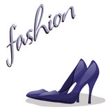Fashionable woman s shoes blue color and fashion handwritten sing. Vector design elements isolated on white Royalty Free Stock Image