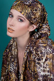 Fashionable woman with scarf Royalty Free Stock Photo