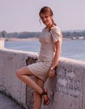 Fashionable woman by sea royalty free stock images