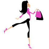 Fashionable woman shopping. An illustration of a fashionable woman in black and pink carrying two shopping bags Stock Photos