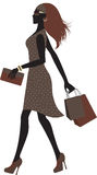 Fashionable woman shopping. Silhouette of Fashionable woman shopping Stock Images