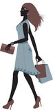 Fashionable woman shopping. Silhouette of fashionable woman shopping Royalty Free Stock Photos