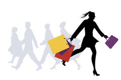 Fashionable woman with shopping bags walking on the street. Vector Illustration Stock Photo