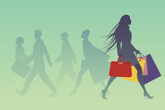 Fashionable woman with shopping bags walking on the street. Vector Illustration Royalty Free Stock Image