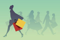Fashionable woman with shopping bags walking on the street. Vector Illustration Stock Image