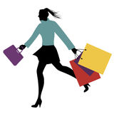 Fashionable woman with shopping bags walking on the street. Vector Illustration Royalty Free Stock Photo