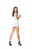 Fashionable woman in short dress from back view in studio Stock Photography