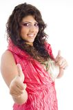 Fashionable woman showing thumbs up Royalty Free Stock Photo
